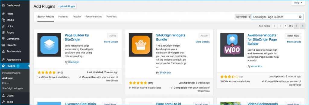 Step 1: Add SiteOrigin Plugins