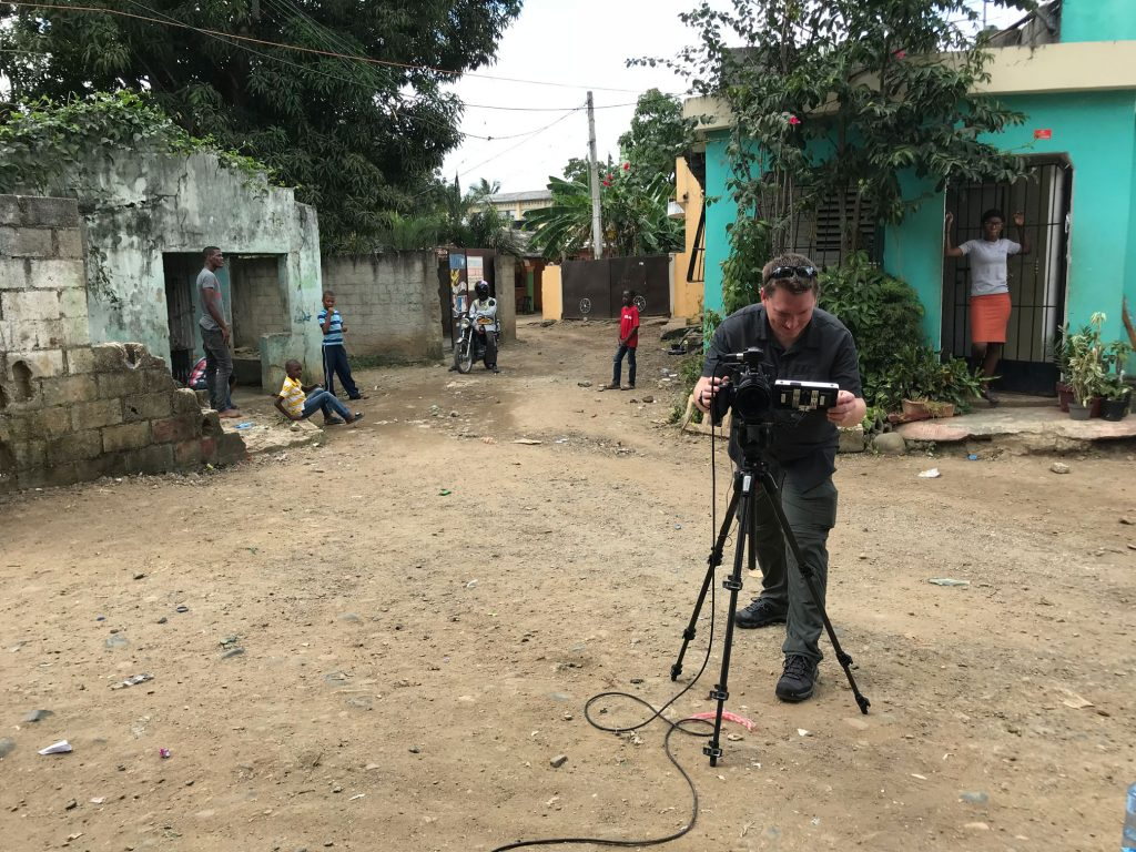 David Hepburn filming in the Dominican Republic with Compassion International